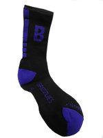 Socks - Men's Black Crew Sock With Purple Stripes