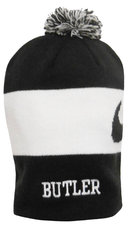 H - Black & White Striped Knit Pom Beanie - Nike