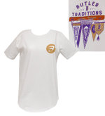 """Pressbox White SS Women's Tee with """"Butler Traditions"""" and flags on the back"""