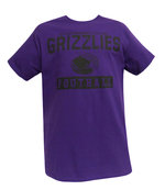 """College House Purple SS Football Tee with """"Butler Community College Grizzlies Football"""" in Black Lettering"""