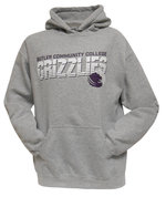 """College House Grey Hood with """"Grizzlies"""" in white block letters and lines running through the lettering"""